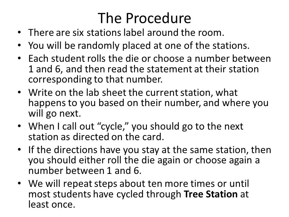 The Procedure There are six stations label around the room.