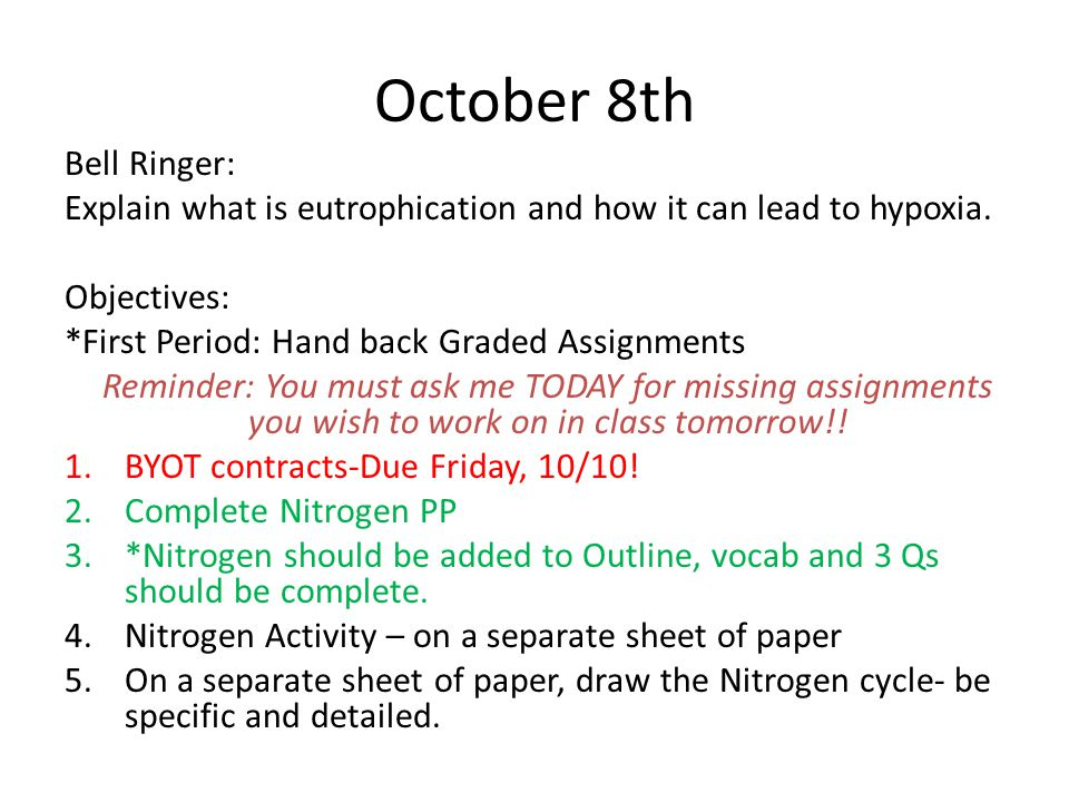 October 8th Bell Ringer: