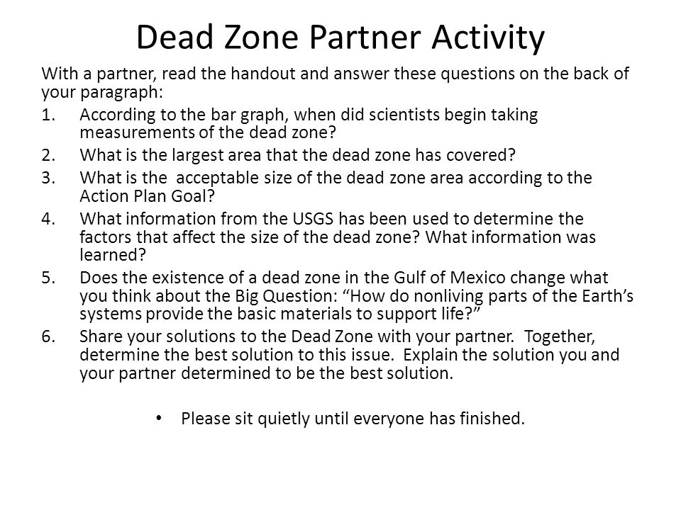 Dead Zone Partner Activity