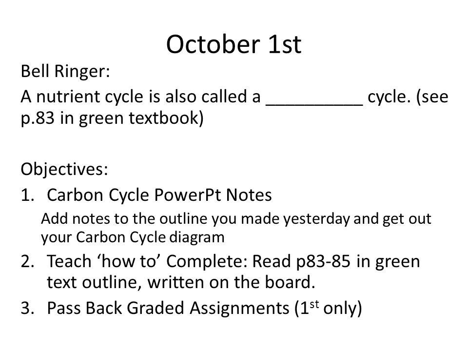 October 1st Bell Ringer: