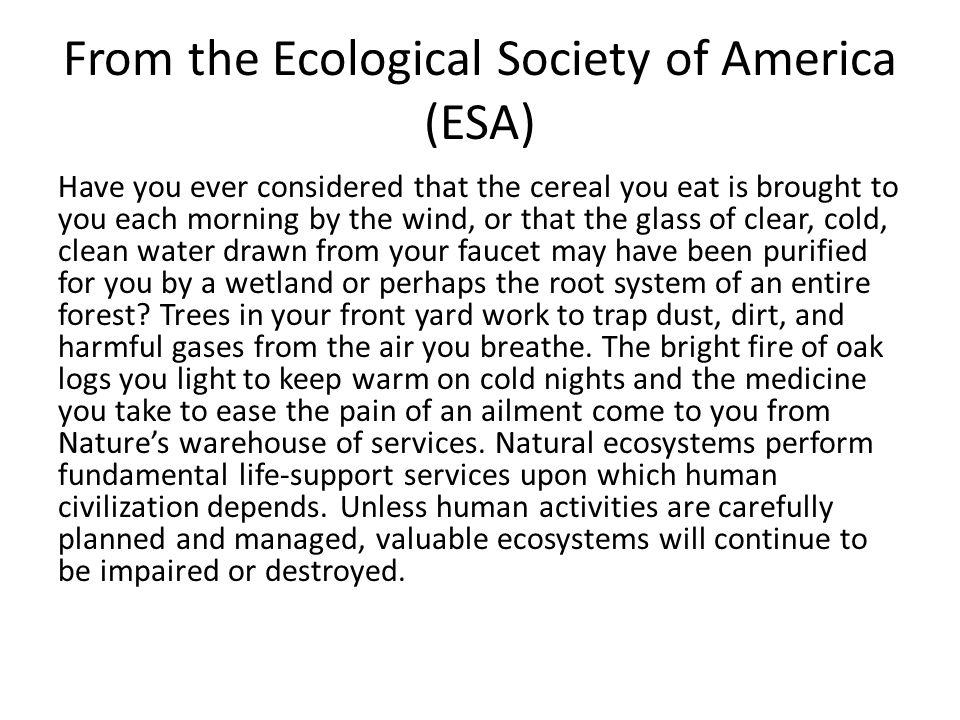From the Ecological Society of America (ESA)