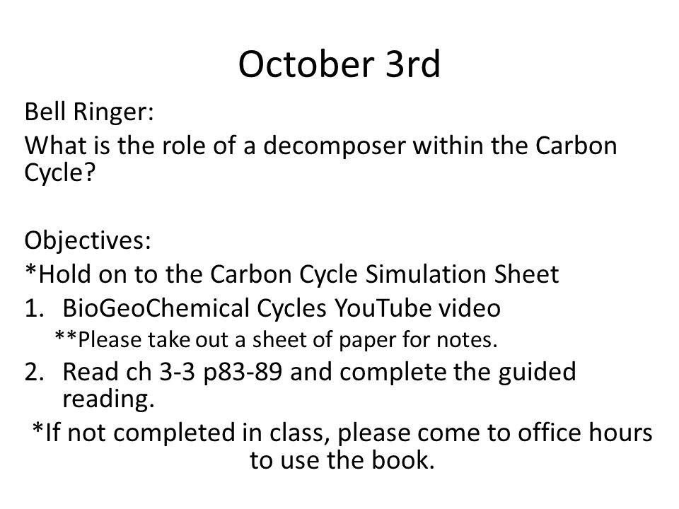 October 3rd Bell Ringer: