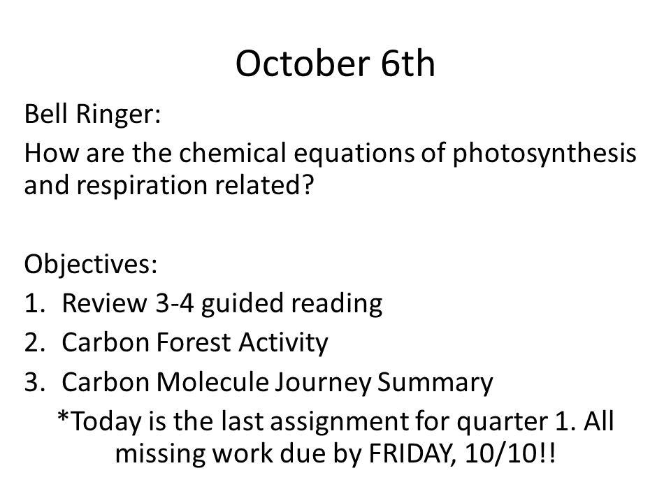 October 6th Bell Ringer: