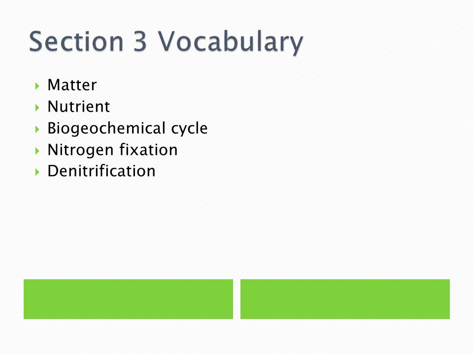 Section 3 Vocabulary Matter Nutrient Biogeochemical cycle