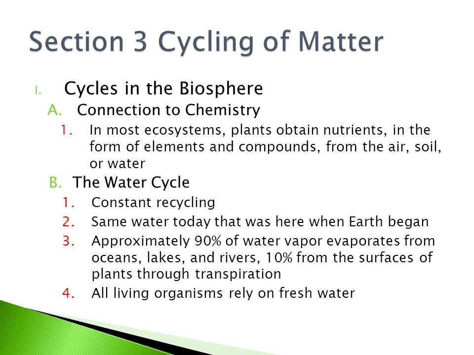 Section 3 Cycling of Matter