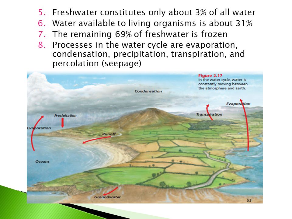 Freshwater constitutes only about 3% of all water