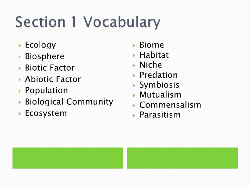 Section 1 Vocabulary Ecology Biosphere Biotic Factor Abiotic Factor