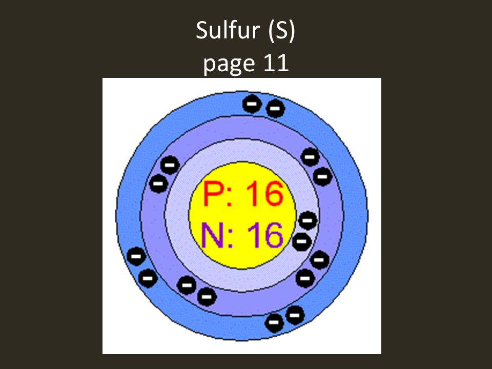 Sulfur (S) page 11