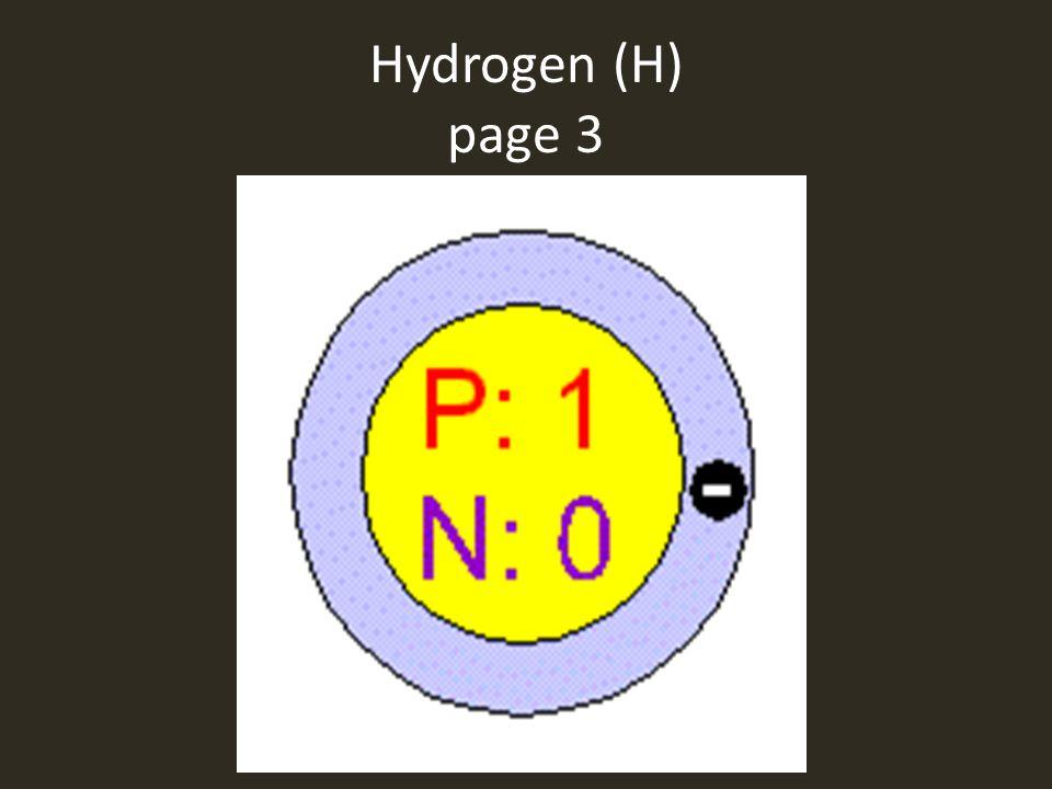 Hydrogen (H) page 3