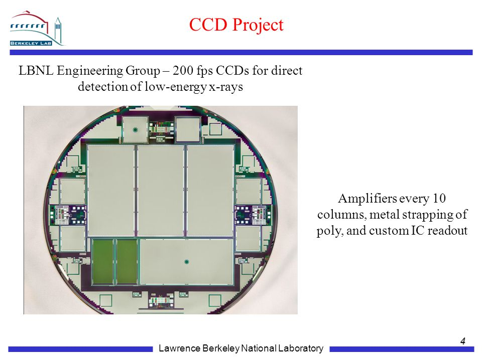 CCD Project LBNL Engineering Group – 200 fps CCDs for direct detection of low-energy x-rays.