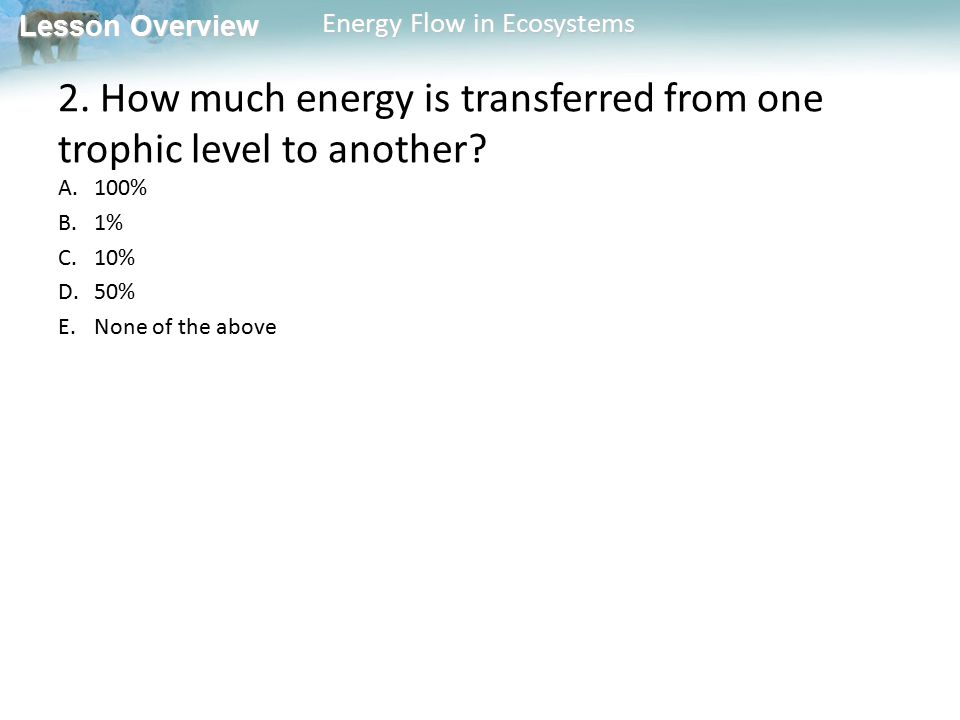 2. How much energy is transferred from one trophic level to another