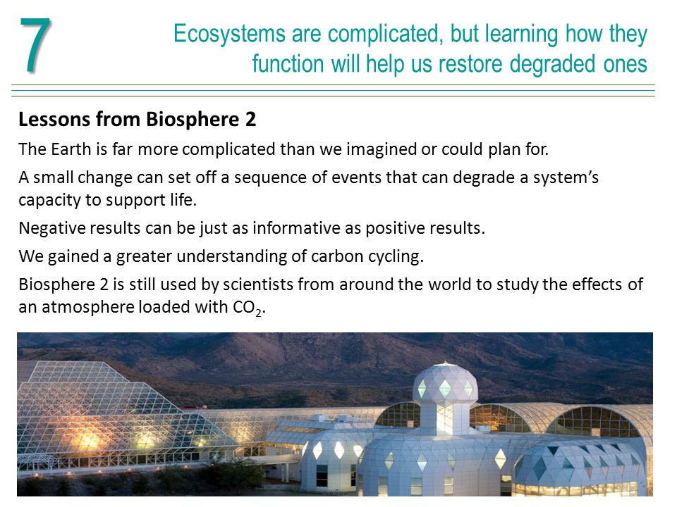 7 Ecosystems are complicated, but learning how they function will help us restore degraded ones. Lessons from Biosphere 2.