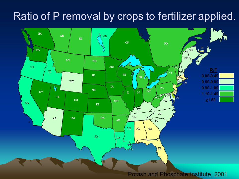 Ratio of P removal by crops to fertilizer applied.
