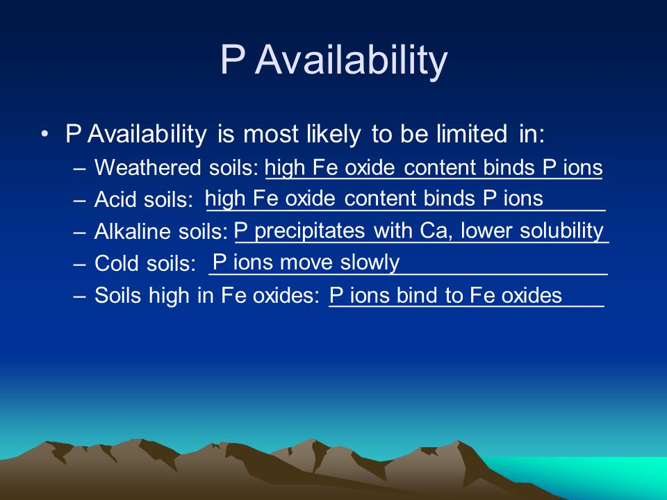 P Availability P Availability is most likely to be limited in: