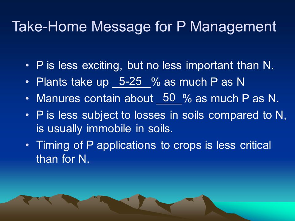 Take-Home Message for P Management