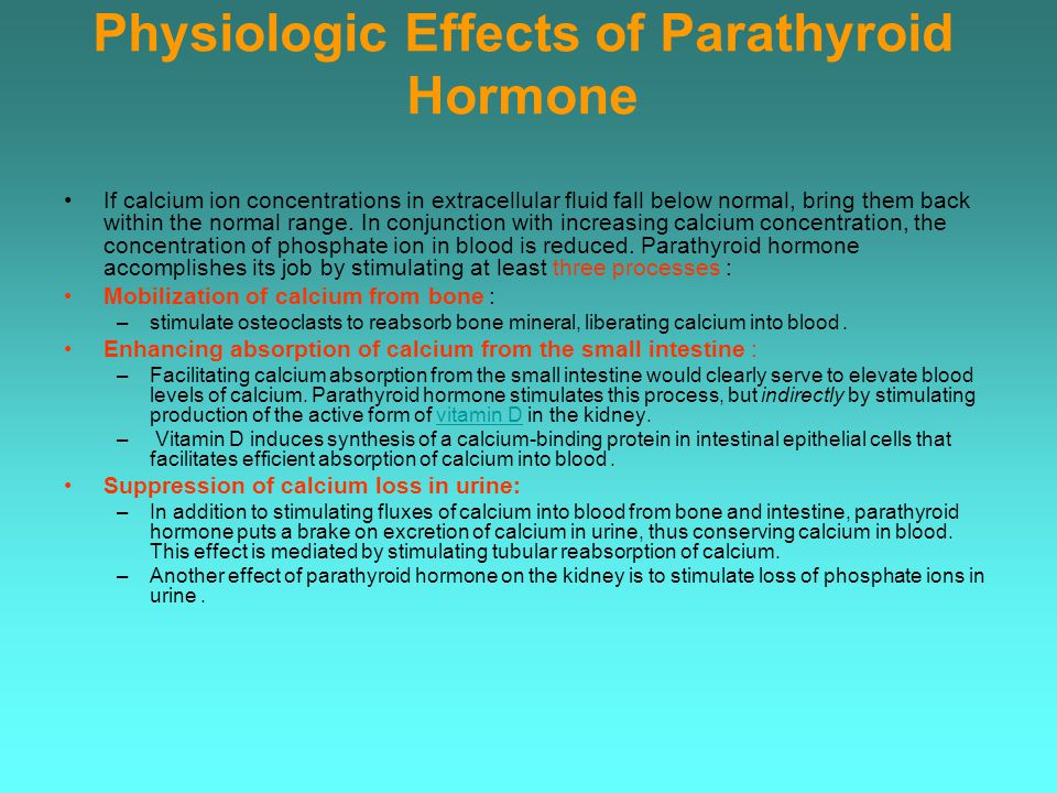 Physiologic Effects of Parathyroid Hormone