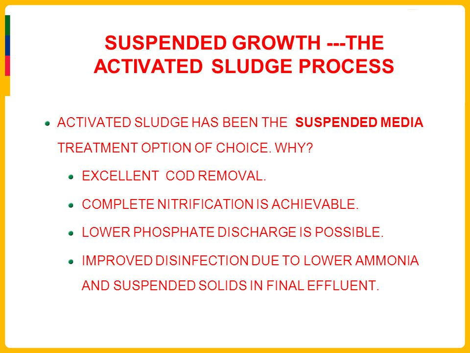 SUSPENDED GROWTH ---THE ACTIVATED SLUDGE PROCESS