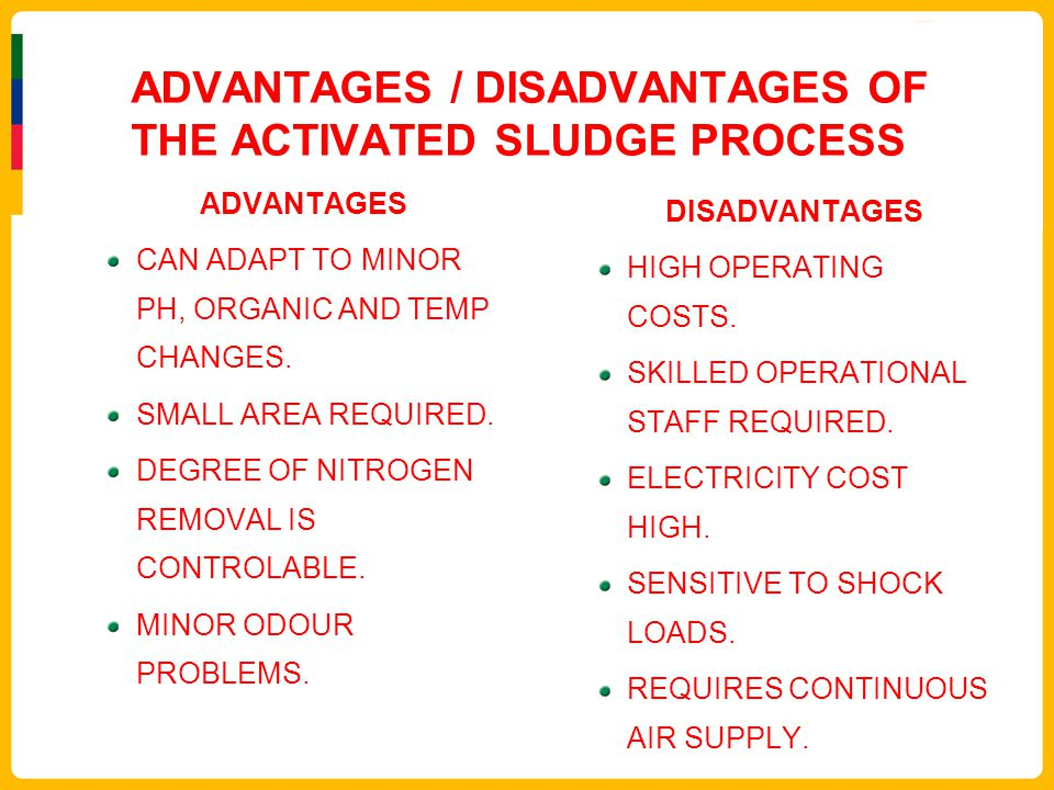 ADVANTAGES / DISADVANTAGES OF THE ACTIVATED SLUDGE PROCESS