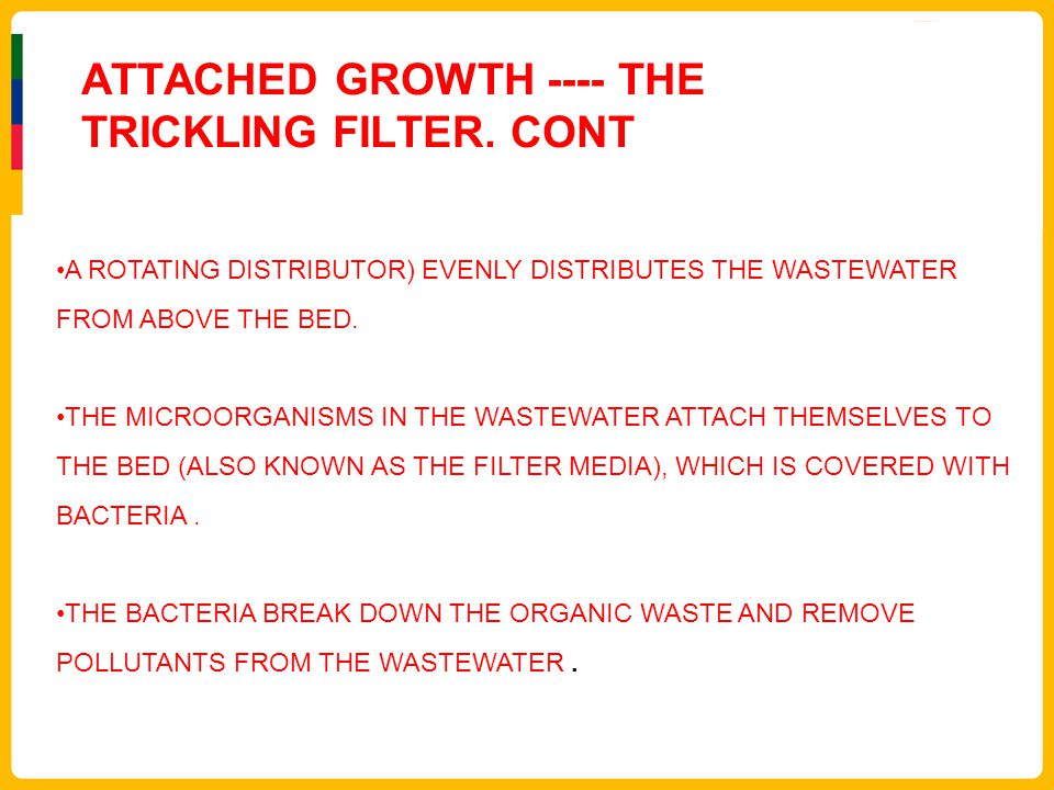 ATTACHED GROWTH ---- THE TRICKLING FILTER. CONT