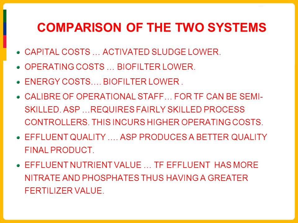 COMPARISON OF THE TWO SYSTEMS