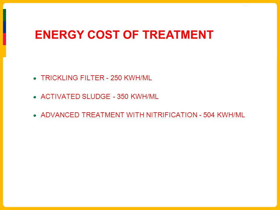 ENERGY COST OF TREATMENT