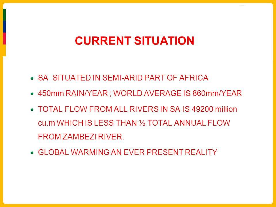 CURRENT SITUATION SA SITUATED IN SEMI-ARID PART OF AFRICA