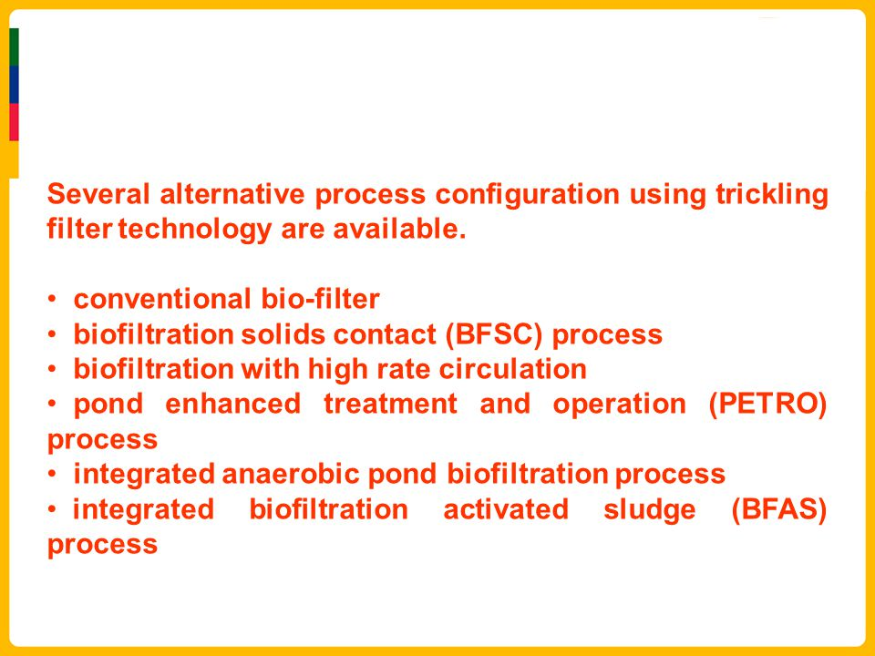 Several alternative process configuration using trickling filter technology are available.