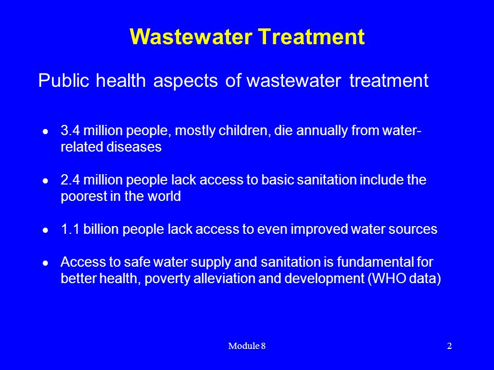 Wastewater Treatment Public health aspects of wastewater treatment