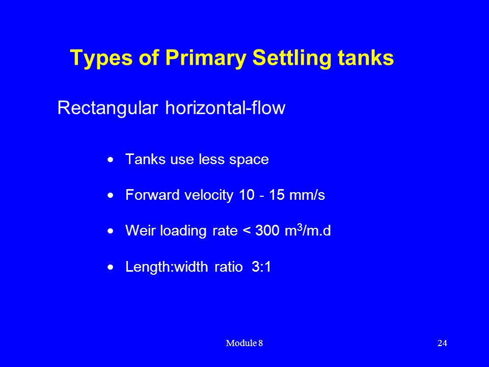 Types of Primary Settling tanks