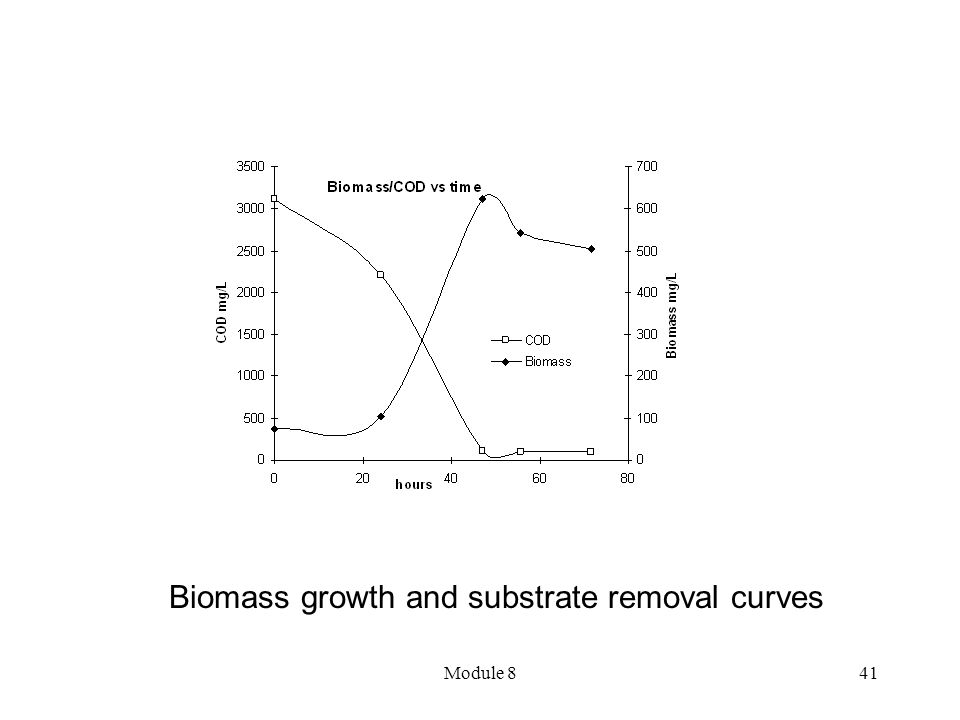 Biomass growth and substrate removal curves