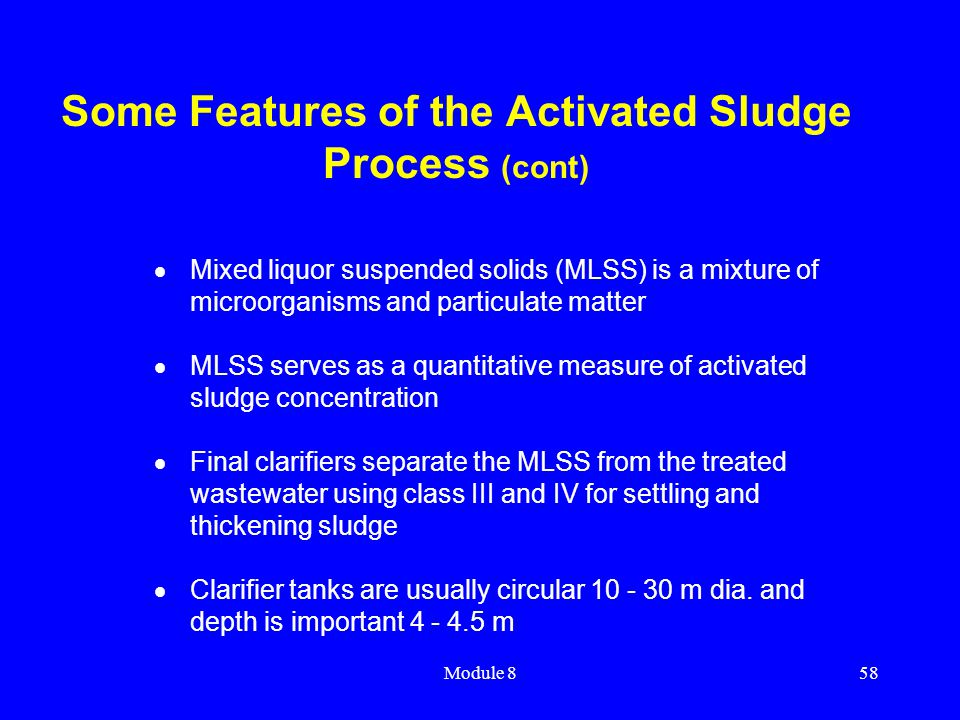 Some Features of the Activated Sludge Process (cont)