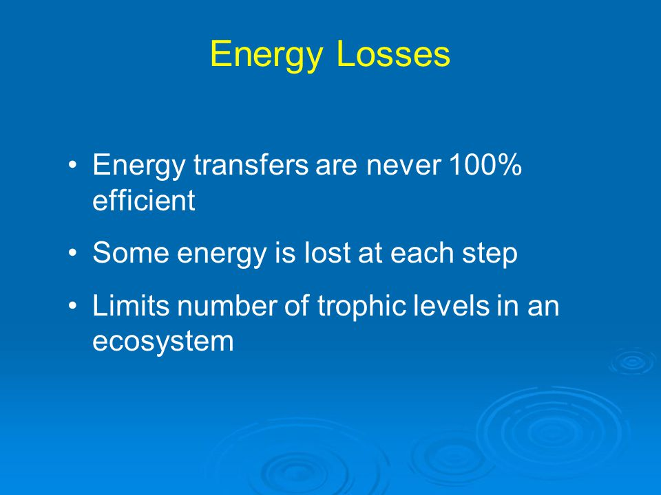 Energy Losses Energy transfers are never 100% efficient