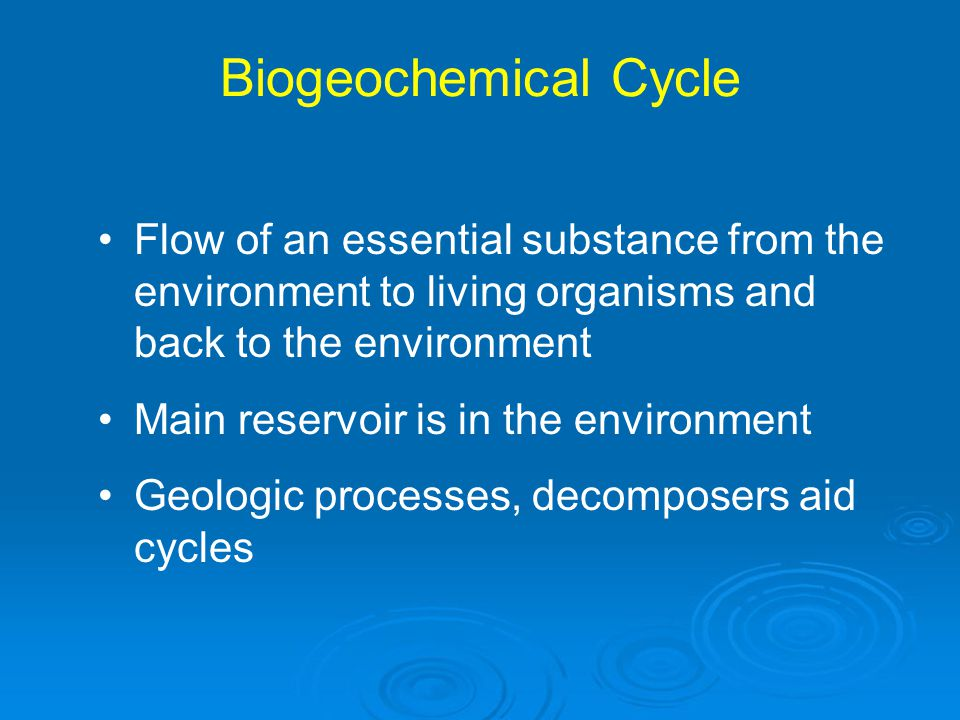 Biogeochemical Cycle Flow of an essential substance from the environment to living organisms and back to the environment.