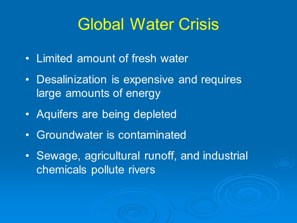 Global Water Crisis Limited amount of fresh water