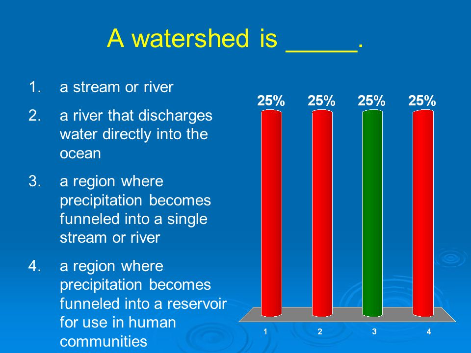 A watershed is _____. a stream or river