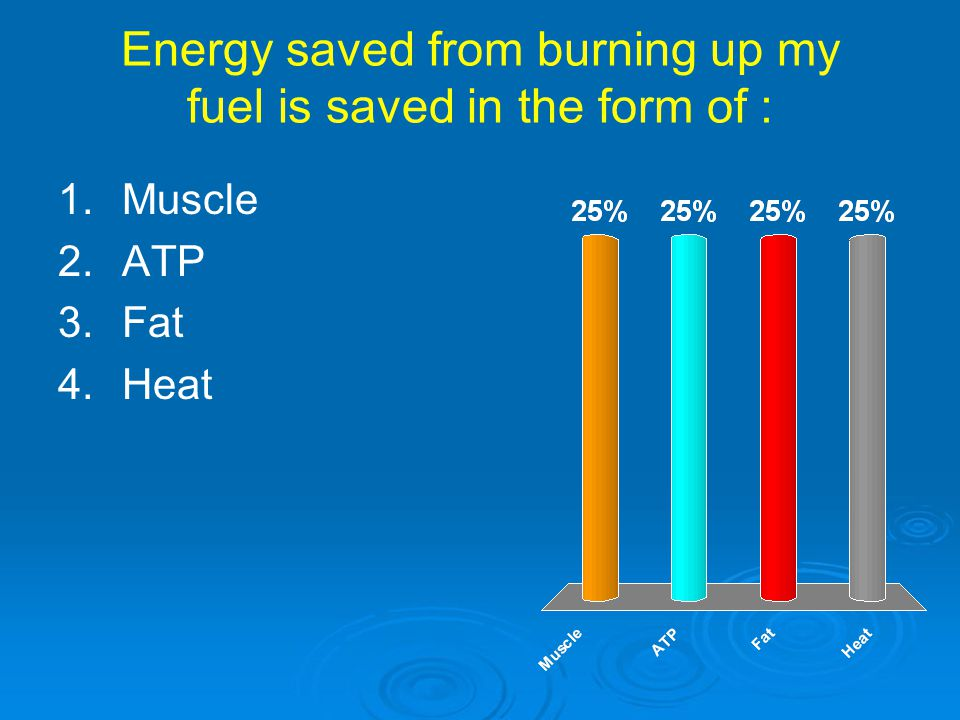 Energy saved from burning up my fuel is saved in the form of :