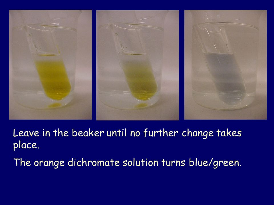 Leave in the beaker until no further change takes place.