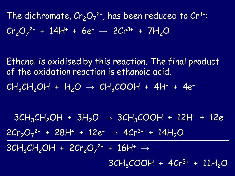 The dichromate, Cr2O72–, has been reduced to Cr3+: