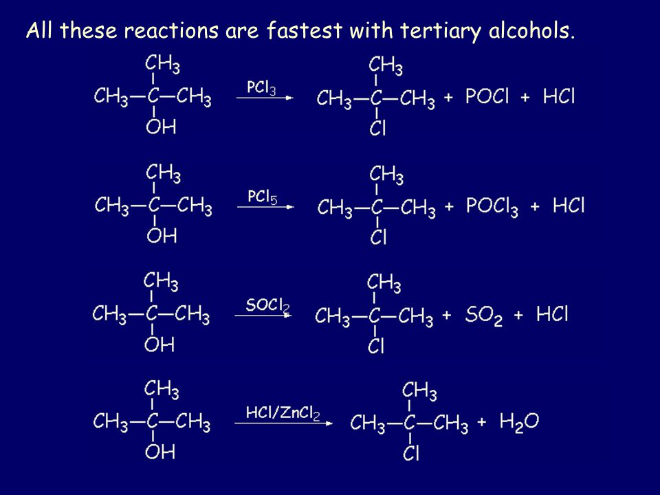 All these reactions are fastest with tertiary alcohols.