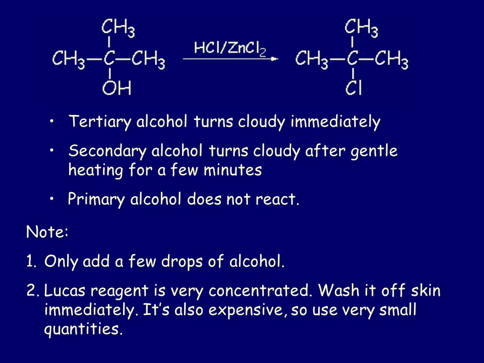 Tertiary alcohol turns cloudy immediately