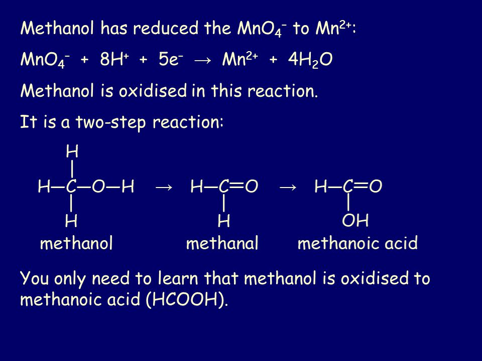 Methanol has reduced the MnO4– to Mn2+:
