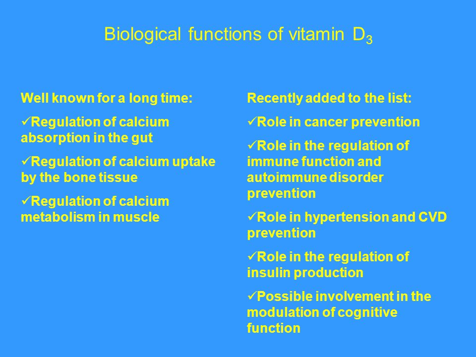 Biological functions of vitamin D3