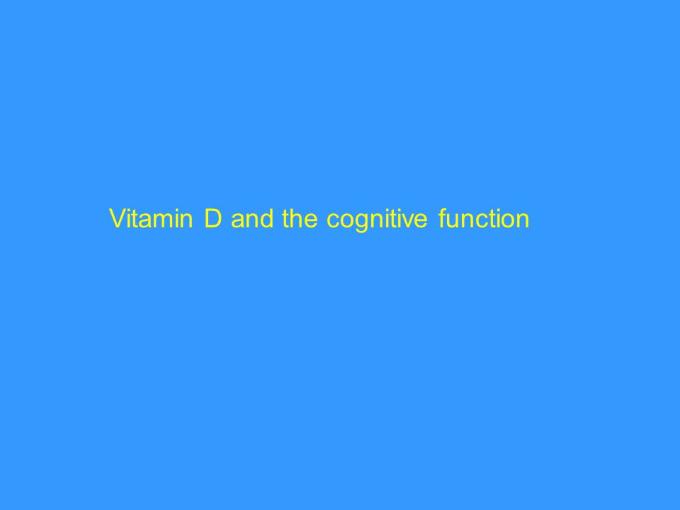 Vitamin D and the cognitive function