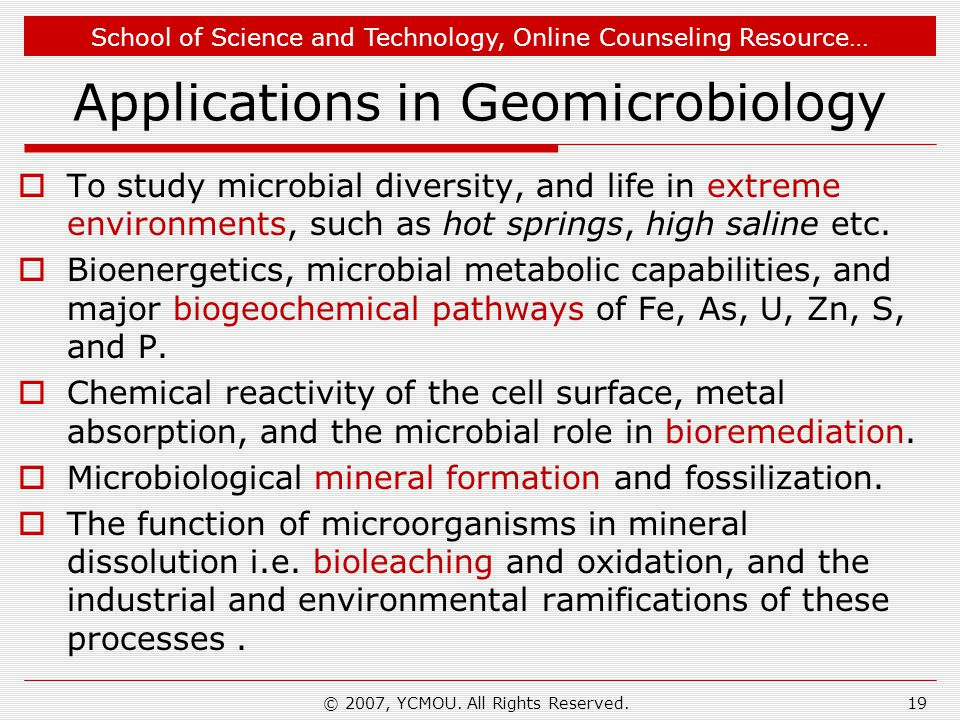 Applications in Geomicrobiology