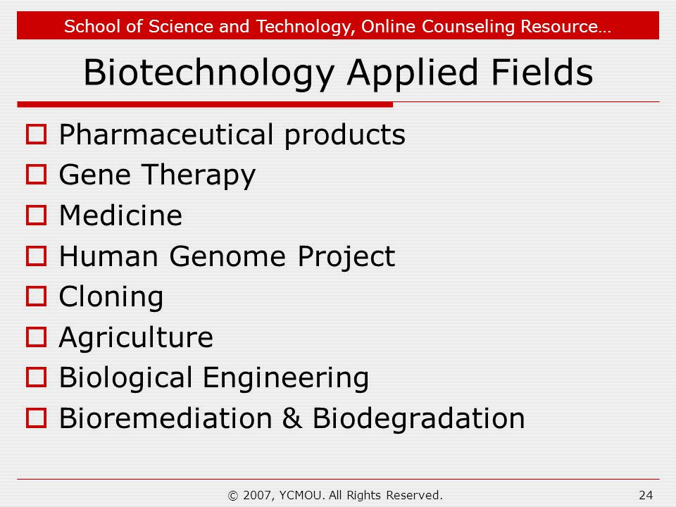 Biotechnology Applied Fields