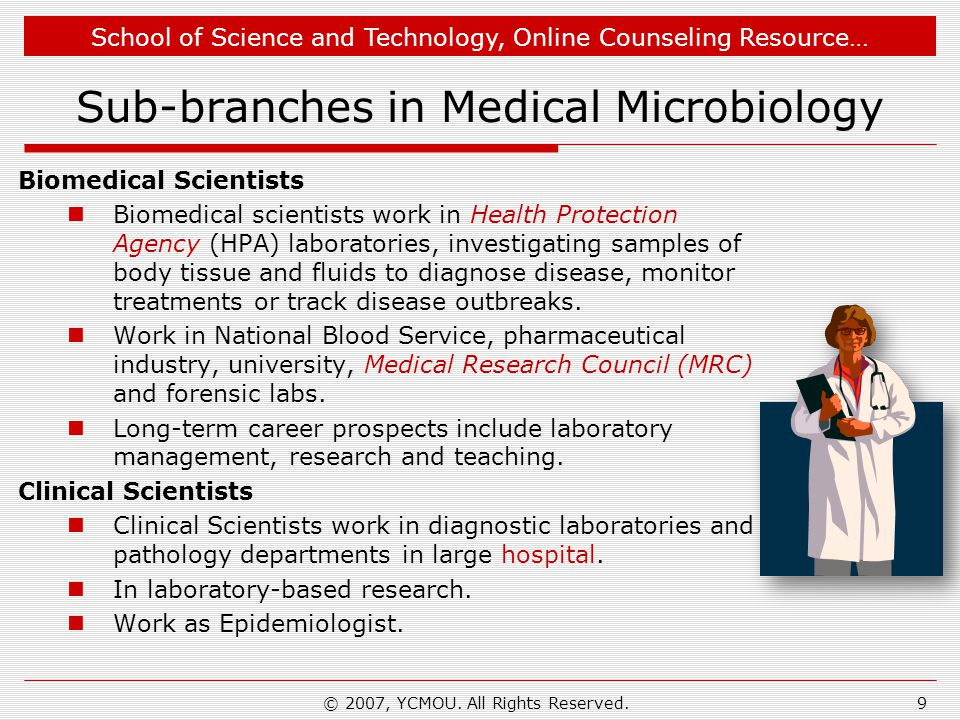 Sub-branches in Medical Microbiology