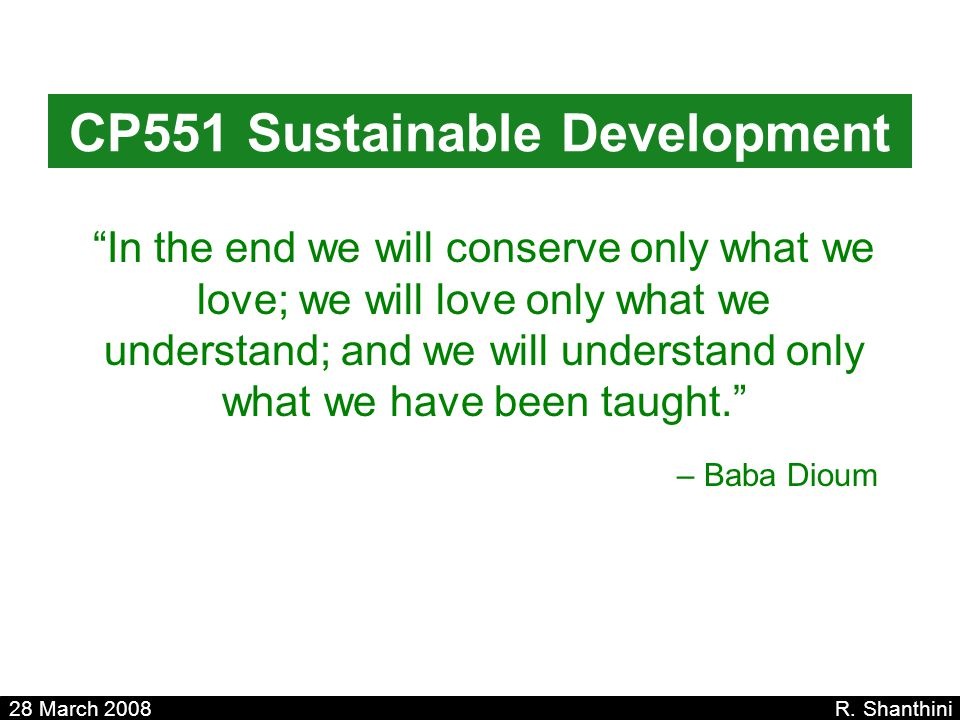 CP551 Sustainable Development