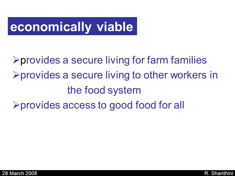 economically viable provides a secure living for farm families