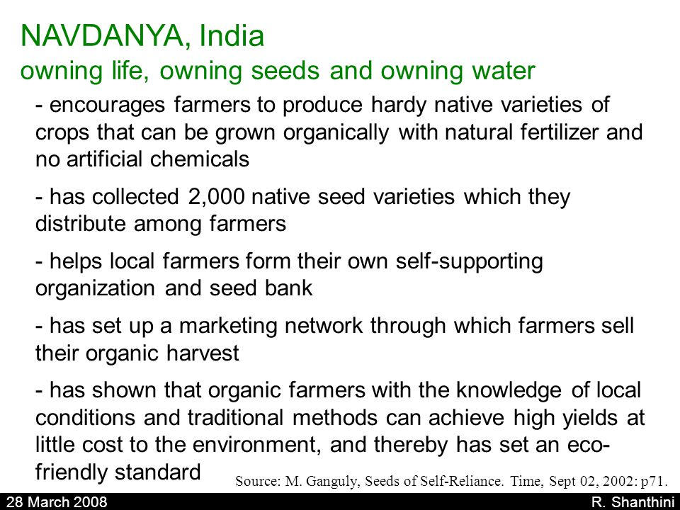 NAVDANYA, India owning life, owning seeds and owning water