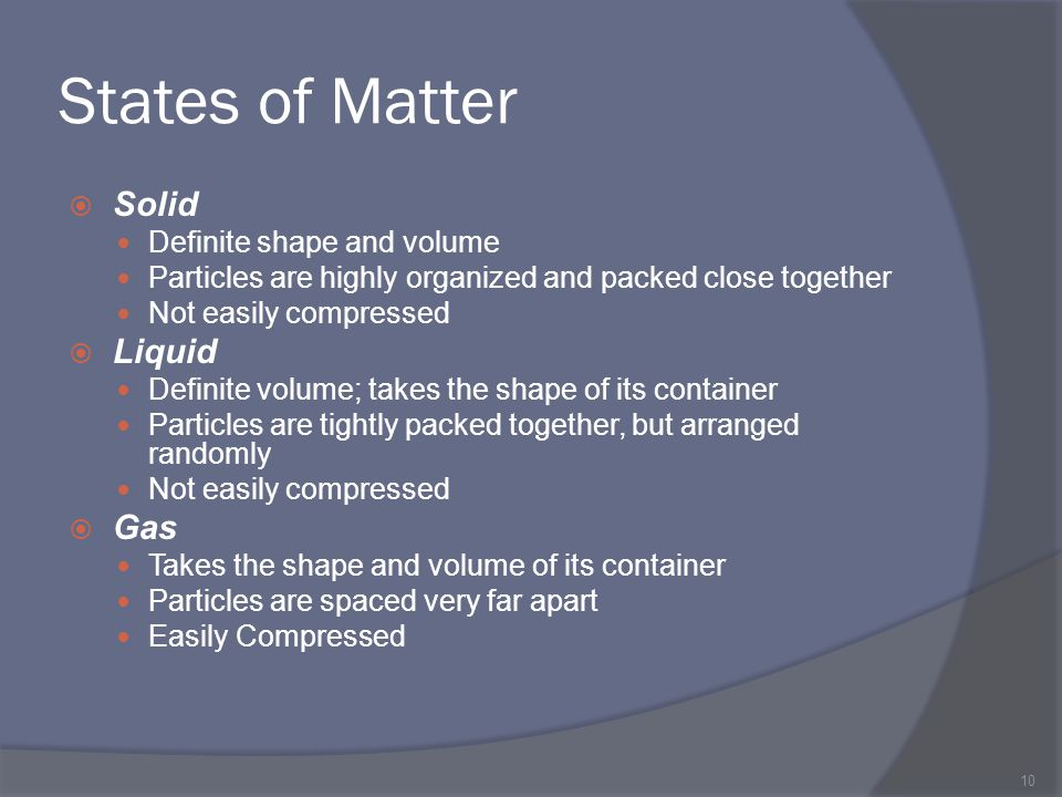 States of Matter Solid Liquid Gas Definite shape and volume